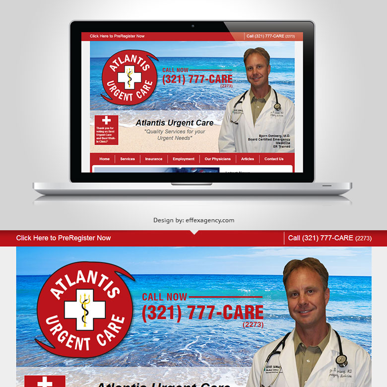 Atlantis Urgent Care clinic branding and website design