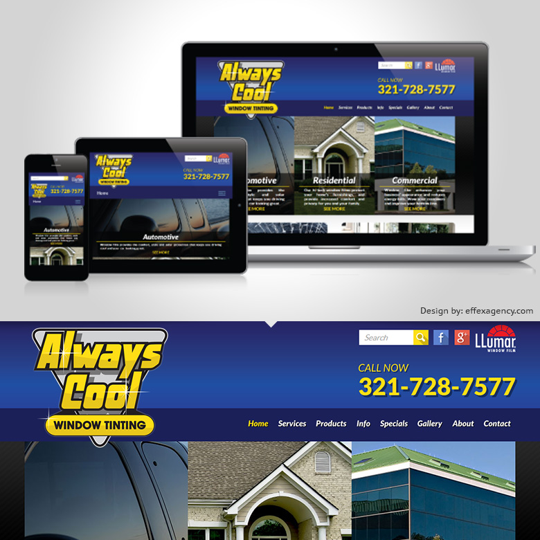 Always Cool Window Tinting website design