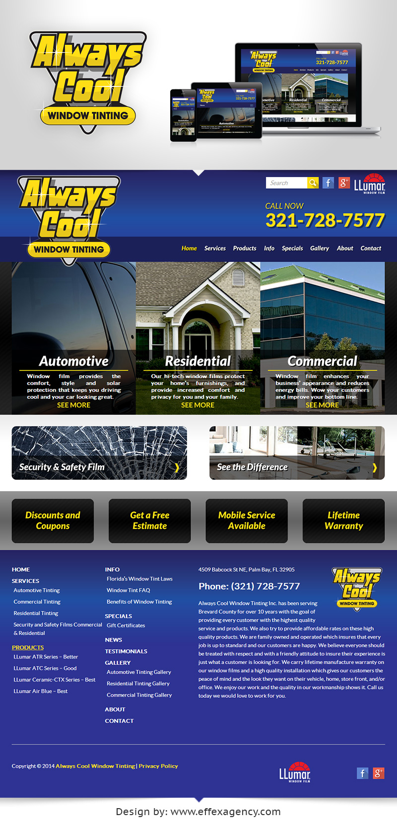 Always Cool Window Tinting responsive website