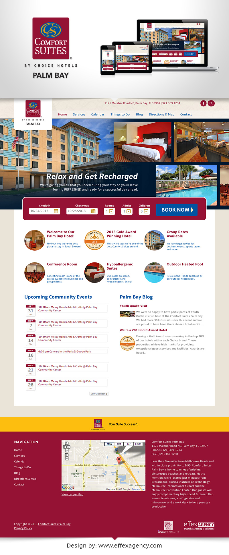 Mobile responsive website design for Comfort Suites Palm Bay