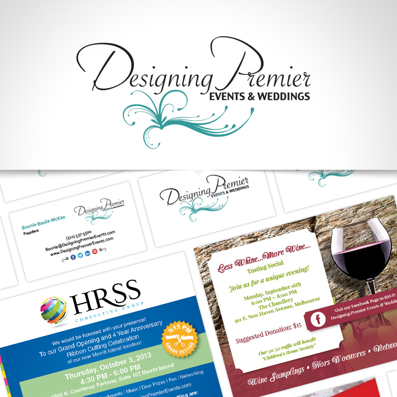 Printed promotional materials for Designing Premier Events and Weddings in Cocoa, Florida