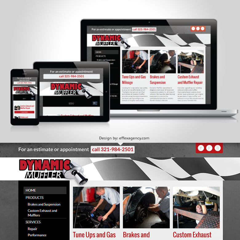 Responsive website design for Dynamic Muffler in Palm Bay