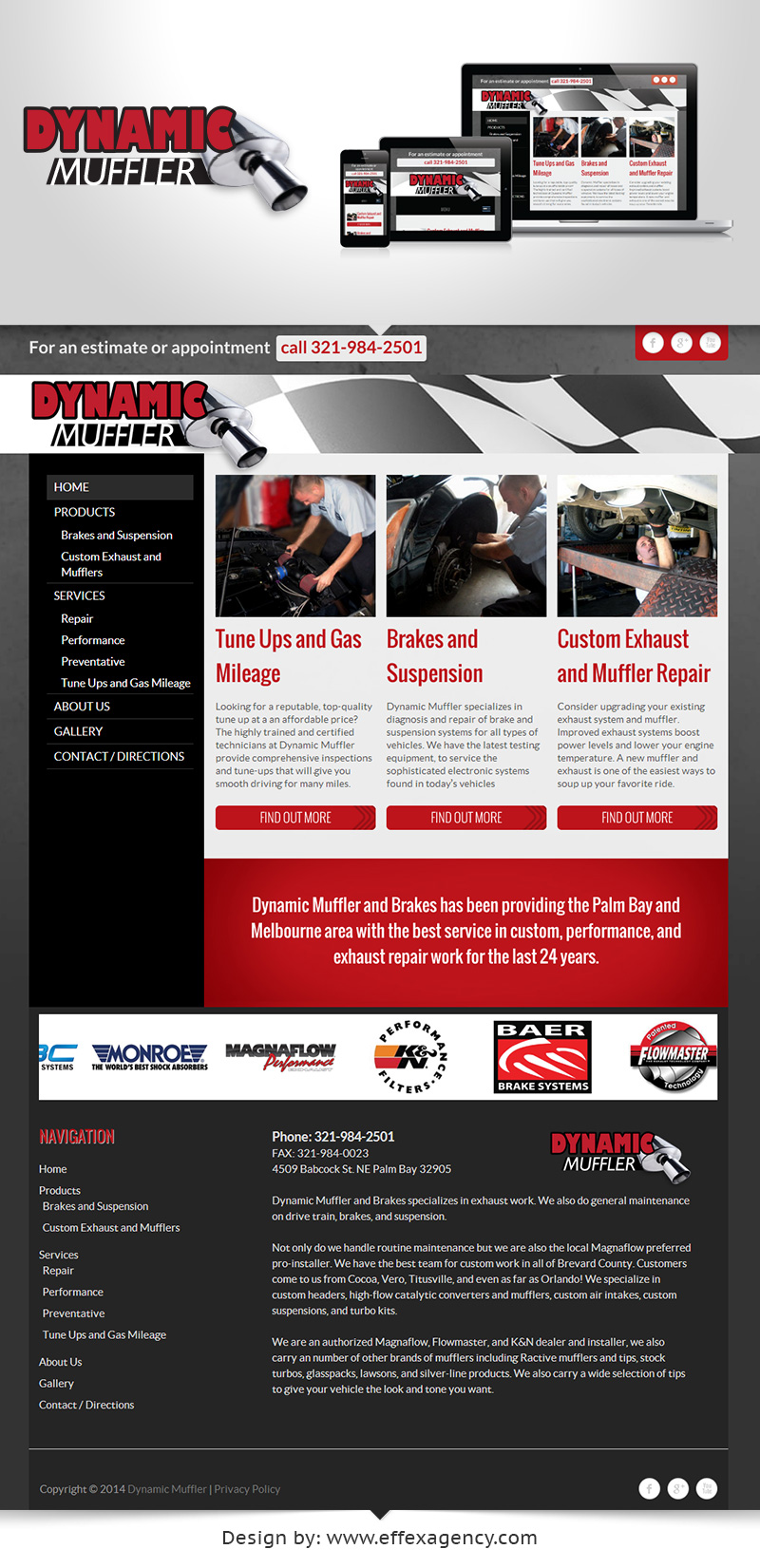 Responsive website for automotive mechanic shop serving Palm Bay and Melbourne Florida