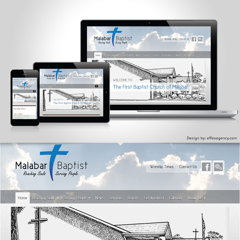 Malabar Baptist Church responsive website redesign